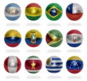 Bolas de la bandera de países de Suramérica Imagen de archivo