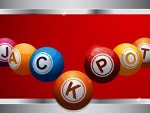 Bolas de la lotería del bingo del bote en el panel rojo y metálico libre illustration