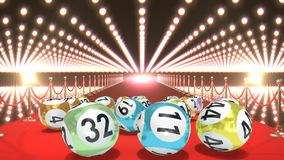 Bolas de la lotería en el vídeo de la alfombra roja libre illustration