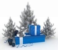Bolas de la Navidad, árboles de navidad y cajas de regalo Foto de archivo