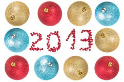 Bolas de la Navidad alrededor del número 2013 Imagen de archivo