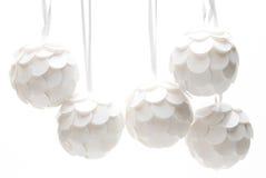 Bolas de la Navidad blanca Fotografía de archivo