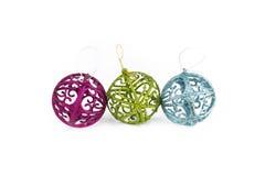 Bolas de la Navidad con el ornamento Imagen de archivo libre de regalías