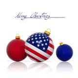 Bolas de la Navidad con la bandera de los E.E.U.U. Fotos de archivo