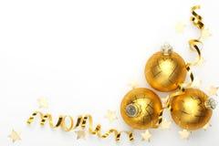 Bolas de la Navidad con la cinta Foto de archivo libre de regalías