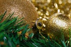 Bolas de la Navidad con la rama verde del abeto Imagen de archivo libre de regalías