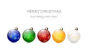 Bolas de la Navidad con los copos de nieve Imagen de archivo libre de regalías