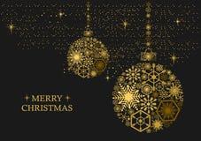 Bolas de la Navidad con los copos de nieve en un fondo negro Imagen de archivo