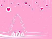 Bolas de la Navidad con los corazones y las cajas de regalo rosados Fotografía de archivo libre de regalías