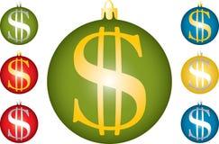 Bolas de la Navidad con un dólar. Imágenes de archivo libres de regalías