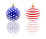 Bolas de la Navidad de los E.E.U.U. Imágenes de archivo libres de regalías