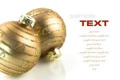 Bolas de la Navidad del oro Foto de archivo