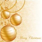 Bolas de la Navidad del oro Imagenes de archivo