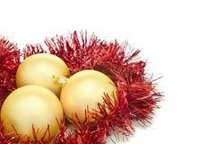 Bolas de la Navidad del oro foto de archivo libre de regalías