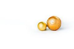 Bolas de la Navidad del oro en blanco Imagen de archivo libre de regalías