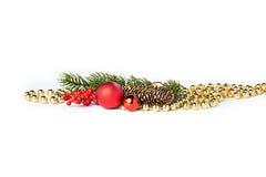 Bolas de la Navidad del oro en blanco Foto de archivo libre de regalías