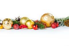 Bolas de la Navidad del oro en blanco Imagenes de archivo