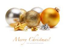 Bolas de la Navidad del oro y de la plata Fotografía de archivo