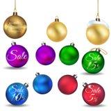 Bolas de la Navidad en el fondo blanco Imagen de archivo