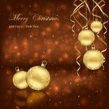 Bolas de la Navidad en fondo marrón Imágenes de archivo libres de regalías