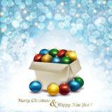 Bolas de la Navidad en la caja en el fondo abstracto Imagen de archivo libre de regalías
