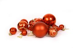 Bolas de la Navidad en un CCB blanco Fotografía de archivo libre de regalías