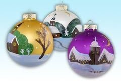 Bolas de la Navidad pintadas a mano Imágenes de archivo libres de regalías