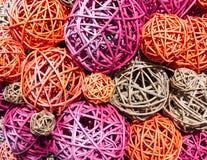 Bolas de la paja multicolora y de las ramas finas Imagen de archivo