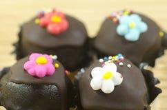 Bolas de la torta de chocolate Fotos de archivo