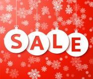 Bolas de la venta de la Navidad con vector del copo de nieve. Fotografía de archivo