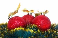 Bolas de los christmass de los rojos Fotos de archivo