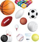 Bolas de los deportes fijadas Fotos de archivo libres de regalías
