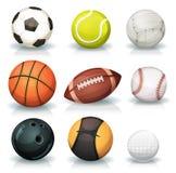 Bolas de los deportes fijadas ilustración del vector