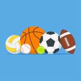 Bolas de los deportes fijadas Icono de las bolas de la historieta Fotos de archivo