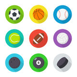 Bolas de los deportes fijadas Plano, bolas de la historieta Imagen de archivo