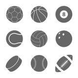 Bolas de los deportes fijadas Siluetas de bolas Fotos de archivo libres de regalías