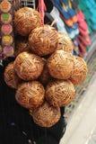 Bolas de madeira tecidas Fotografia de Stock