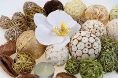 Bolas de madera y orquídea blanca Foto de archivo libre de regalías