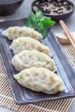 Bolas de masa hervida coreanas cocidas al vapor Mandu con la carne y las verduras del pollo en la placa negra, vertical Fotos de archivo libres de regalías