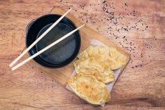 Bolas de masa hervida de Gyoza comida japonesa popular Fotos de archivo
