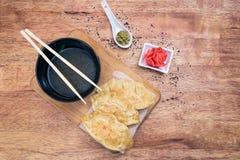 Bolas de masa hervida de Gyoza comida japonesa popular Fotos de archivo libres de regalías
