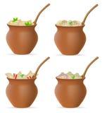 Bolas de masa hervida de la pasta con un relleno y de los verdes en ico determinado del pote de arcilla libre illustration