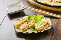 Bolas de masa hervida de Gyoza - cocina japonesa fotografía de archivo libre de regalías