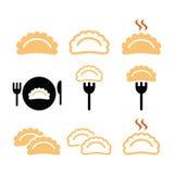 Bolas de masa hervida, iconos de la comida fijados Foto de archivo