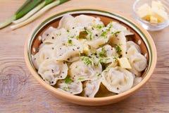 Bolas de masa hervida, llenadas de la carne, raviolis Pelmeni ruso tradicional del plato Imágenes de archivo libres de regalías