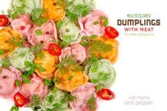 Bolas de masa hervida multicoloras con la carne en un fondo blanco Fotografía de archivo libre de regalías