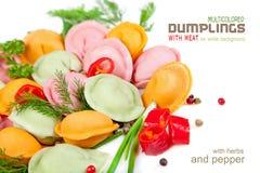 Bolas de masa hervida multicoloras con la carne en un fondo blanco Fotos de archivo libres de regalías