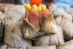 Bolas de masa hervida o zongzi del arroz Foto de archivo libre de regalías