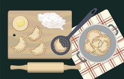 Bolas de masa hervida y el proceso de su preparación stock de ilustración