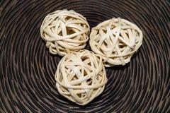 Bolas de mimbre de madera Foto de archivo libre de regalías